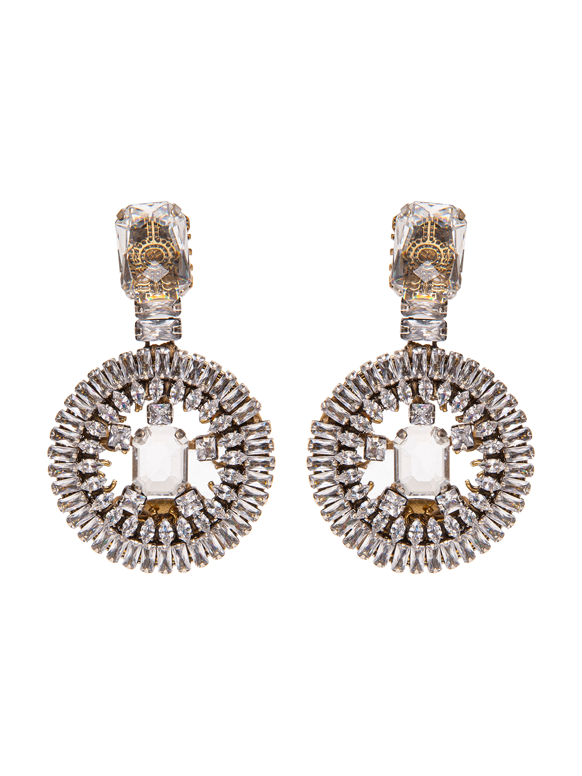 Stone earrings with round  crystal pendant