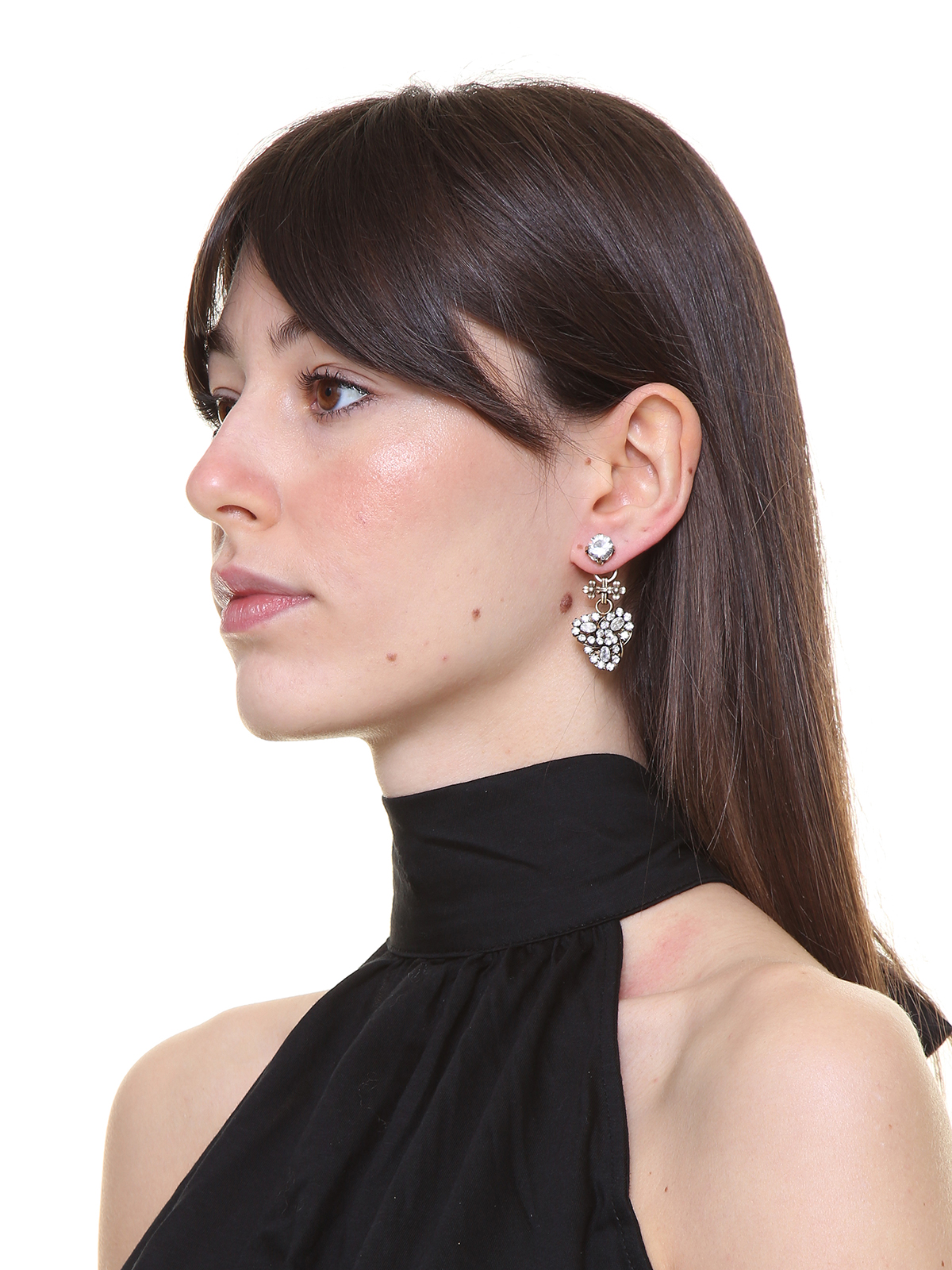 Pendent earrings with crystal petals
