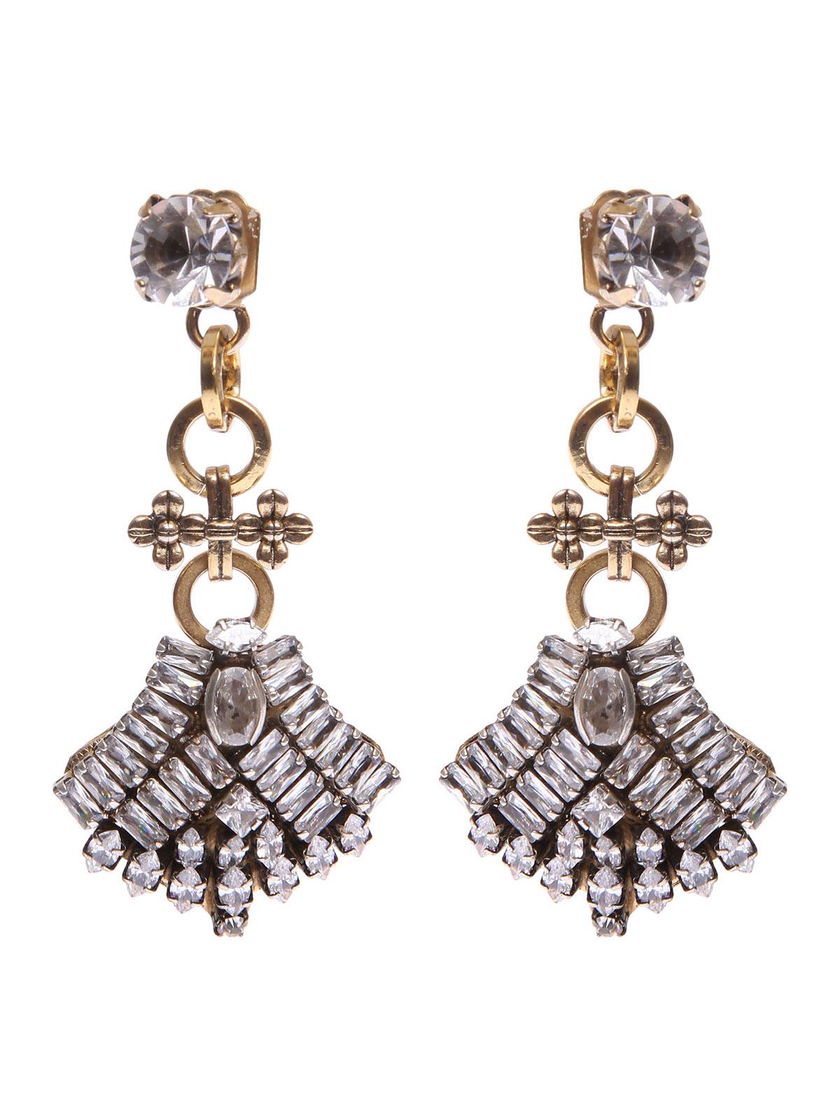 Stone earrings with jewel fan pendant