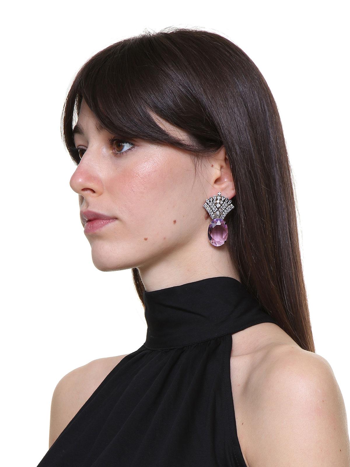 Jewel fan earrings with oval stone