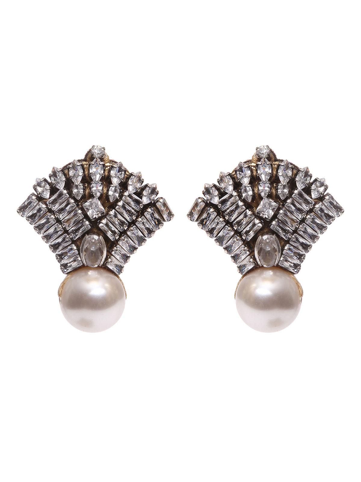 Jewel fan earrings with pearl