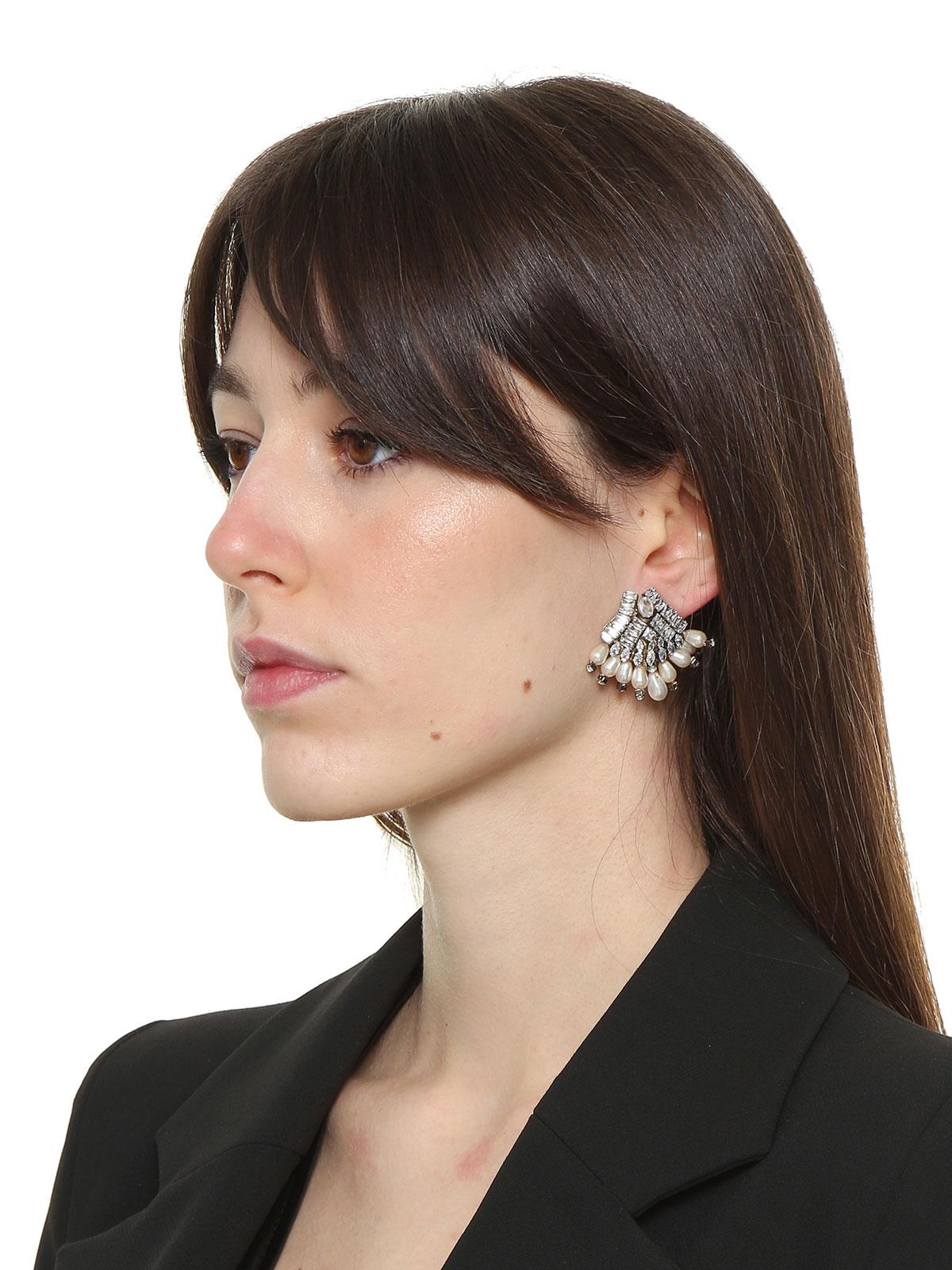 Jewel fan earrings with glass drops