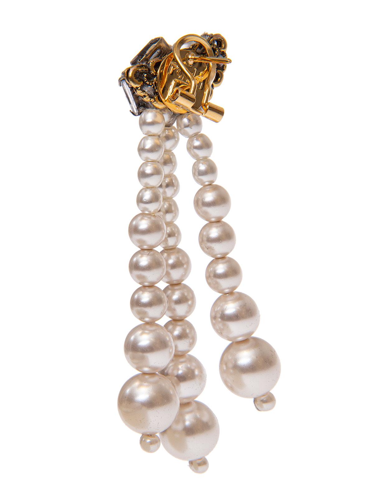 Orecchini di baguettes cristallo con grappoli di perle