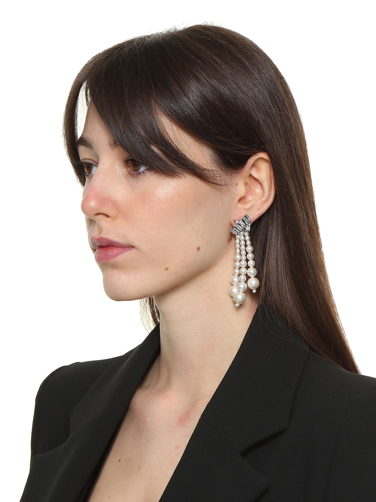 Crystal earrings with pendent pearls