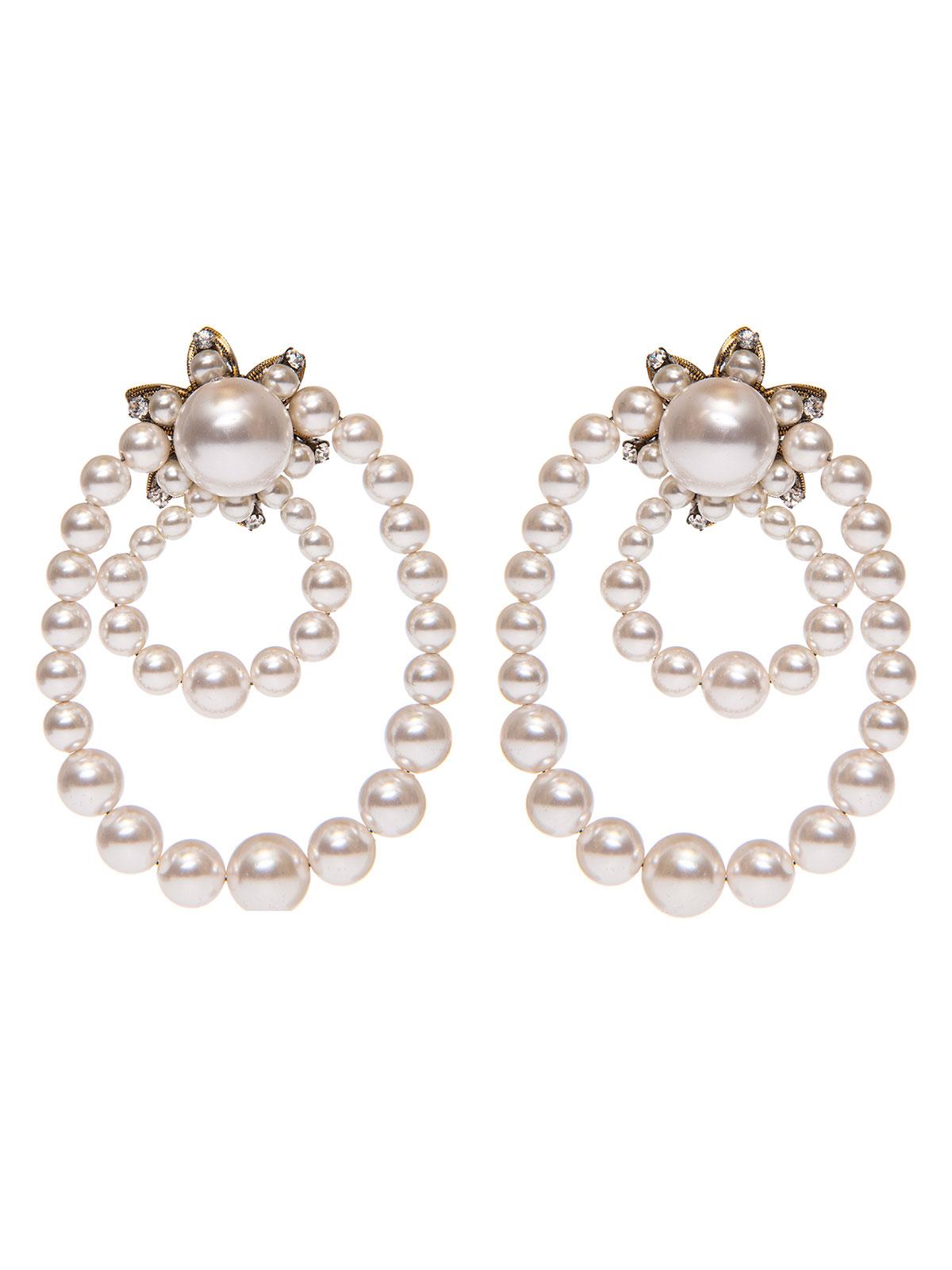 Crystal earrings with pearl hoops