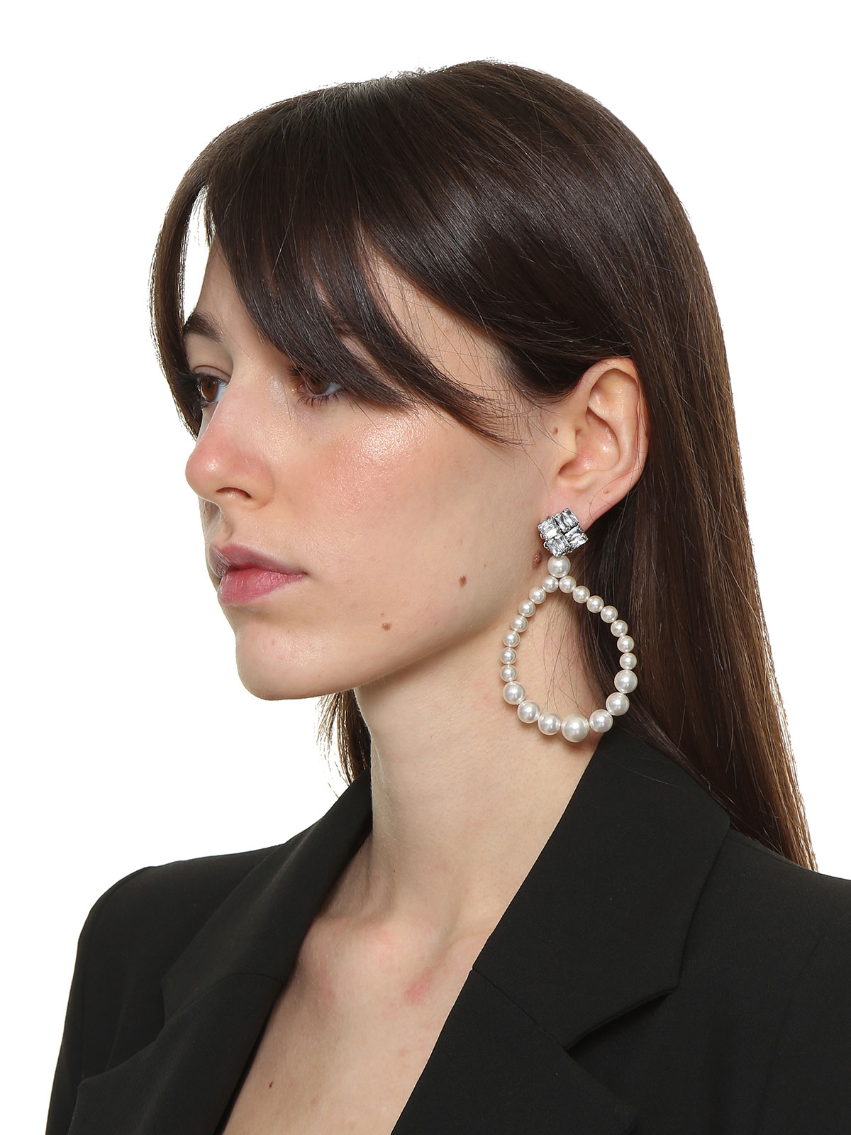 Square crystal earrings with pendent pearls