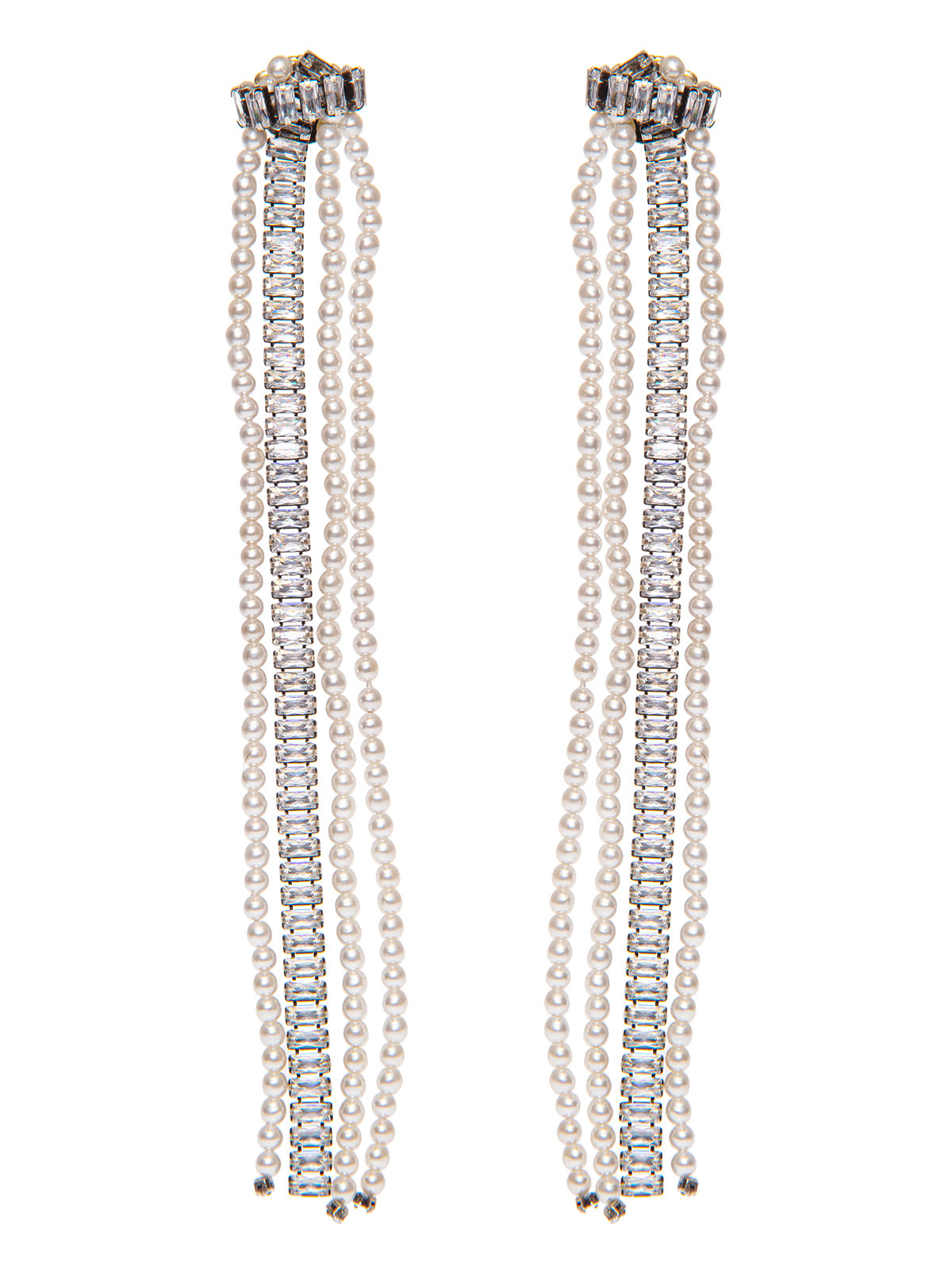 Crystal earrings with crystal and pearl fringe