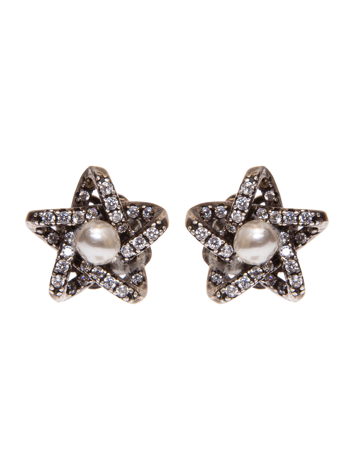 Star earrings with central pearl