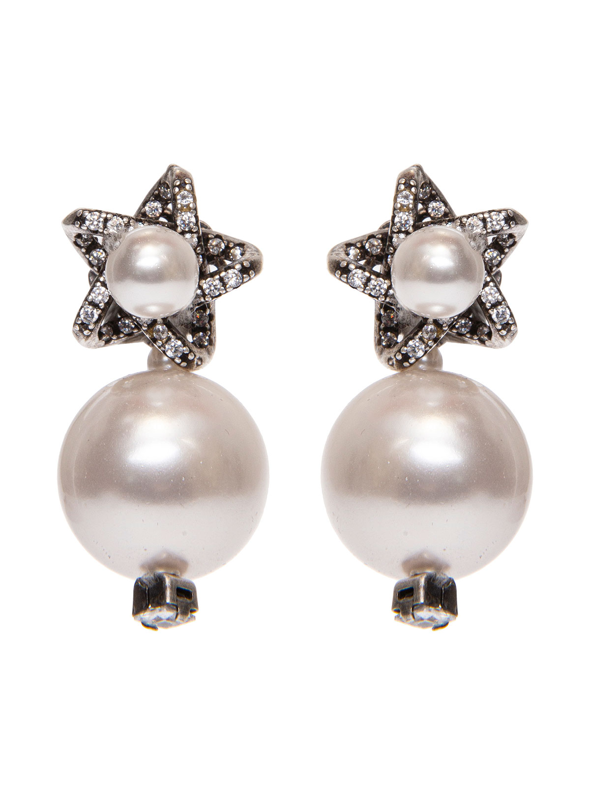 Star earrings with pendent pearl