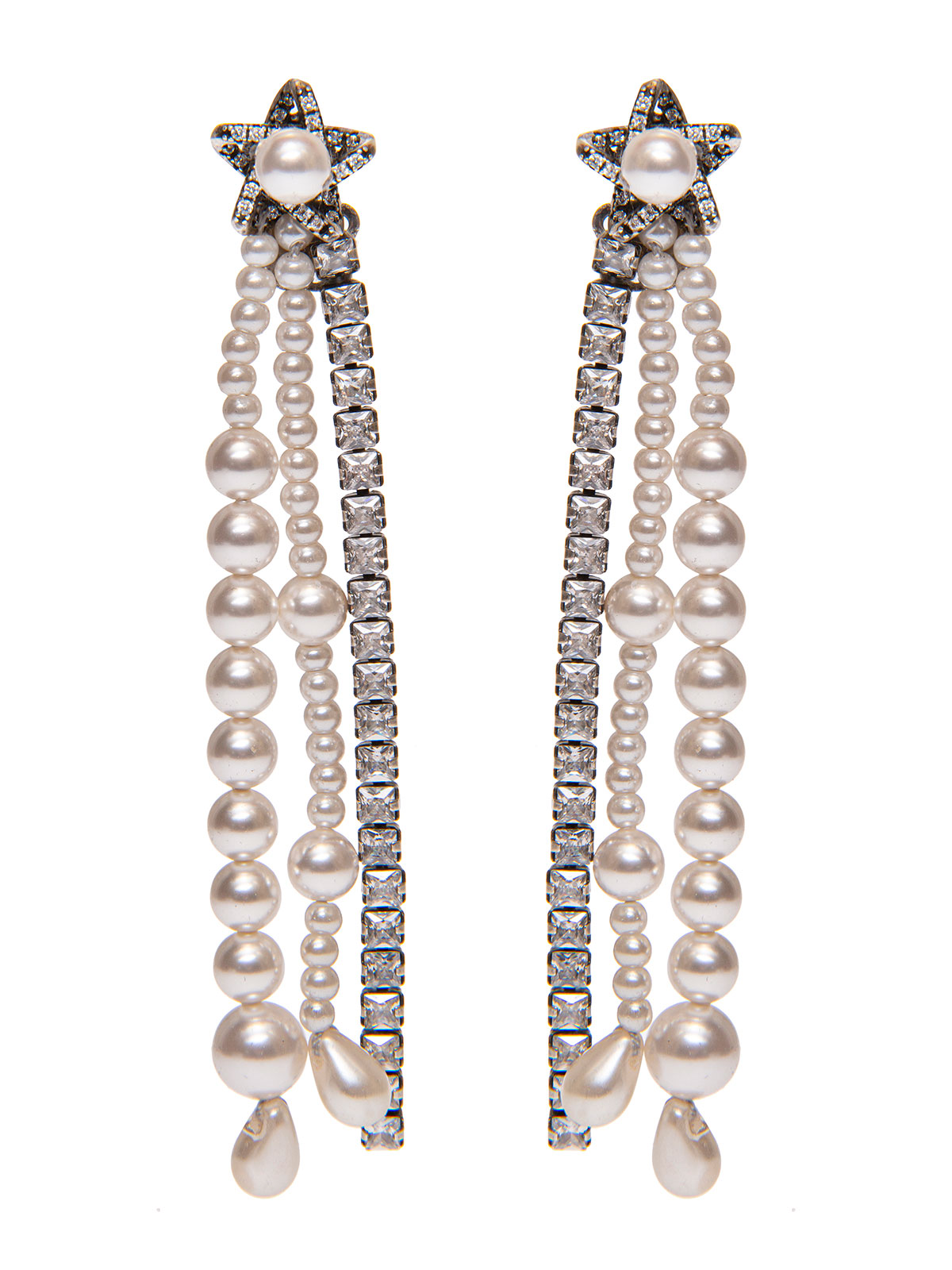 Star earrings with pendent pearls and crystals