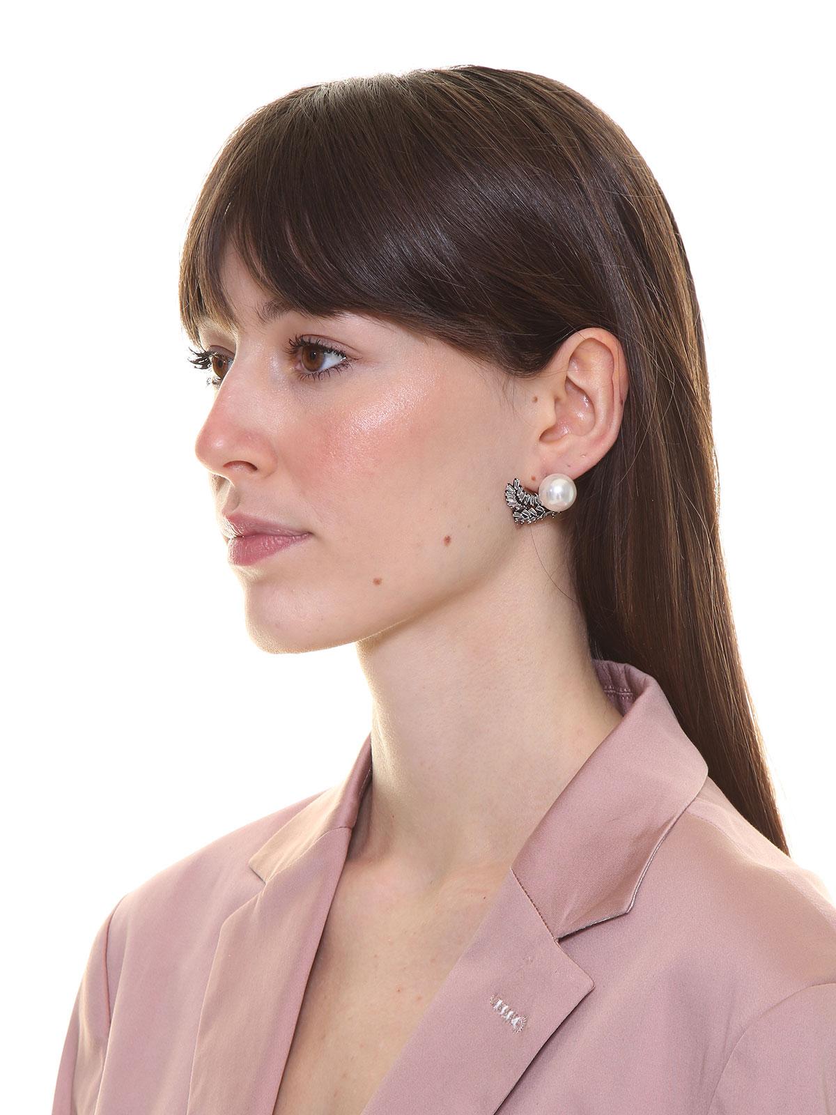 Crystal earrings with pearl