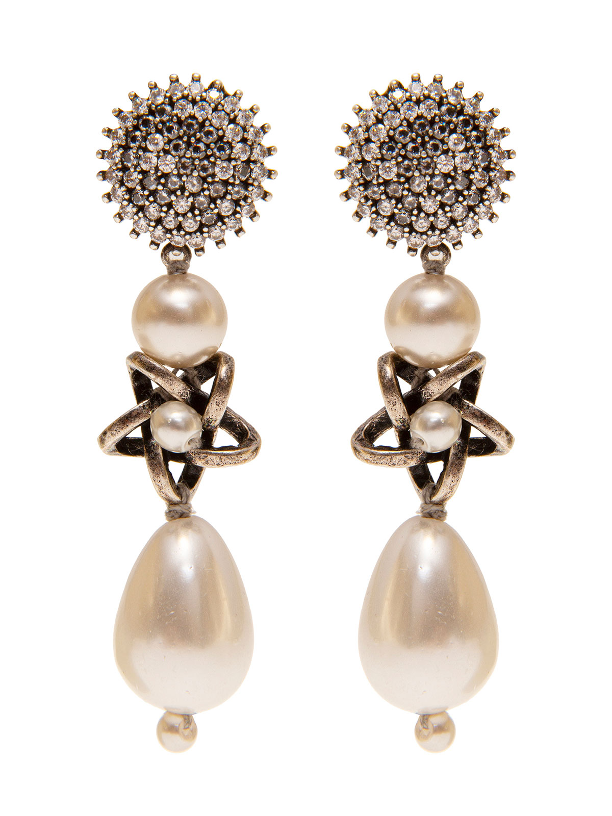 Crystal earrings with pendent pearl and star