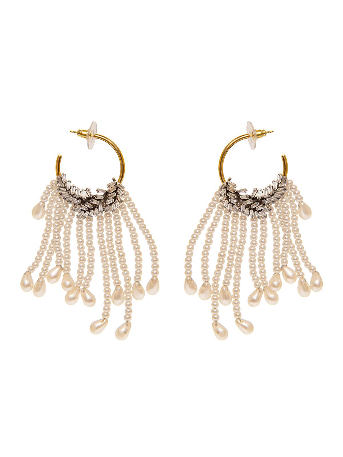 Hoop earrings with crystal leaves and pendent pearls