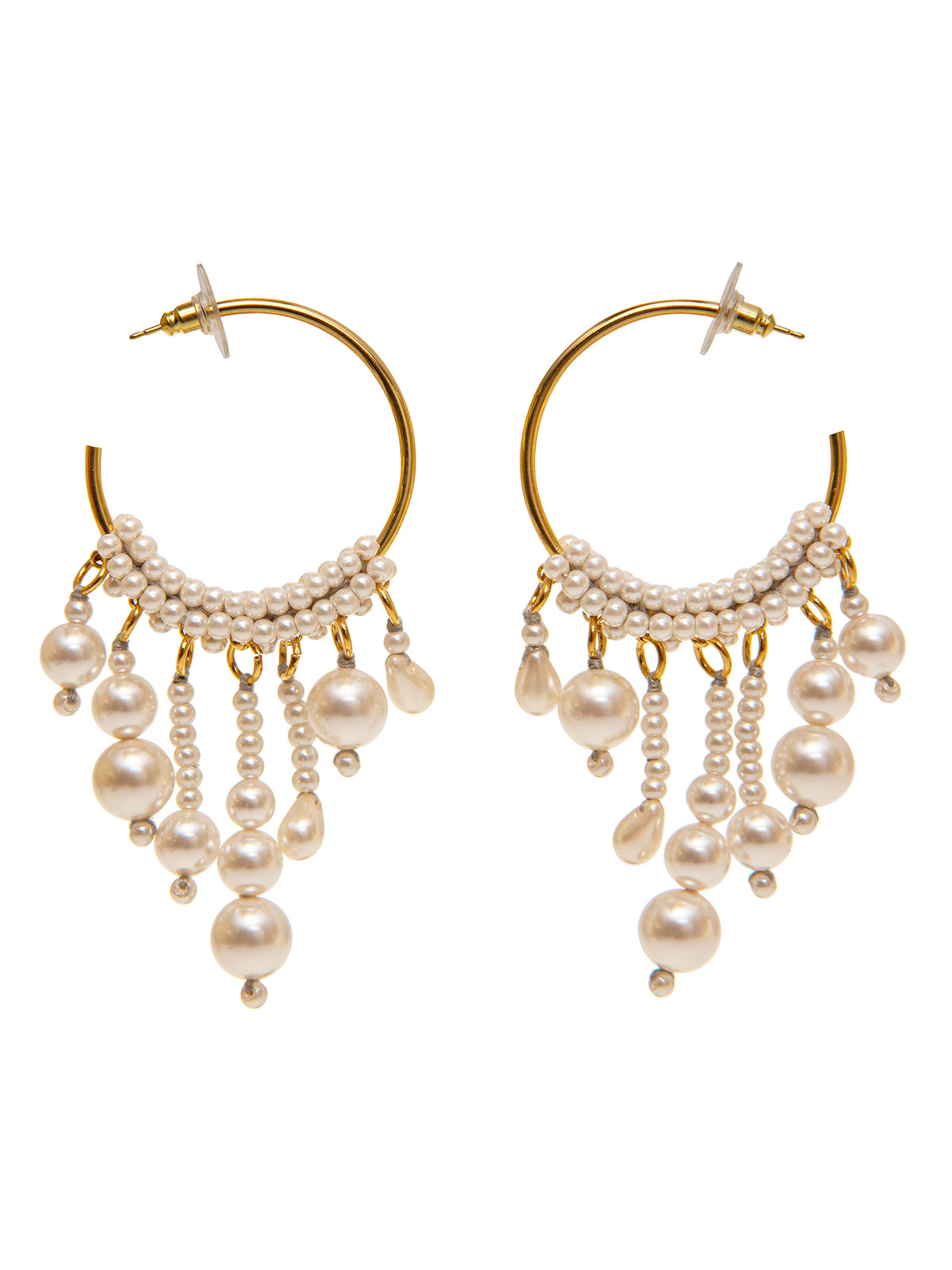 Hoop earrings with pendent beads and pearls