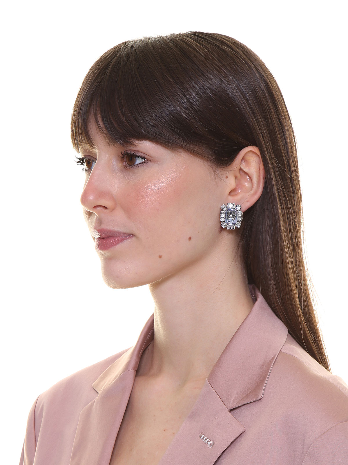 Stone earrings with crystal decoration