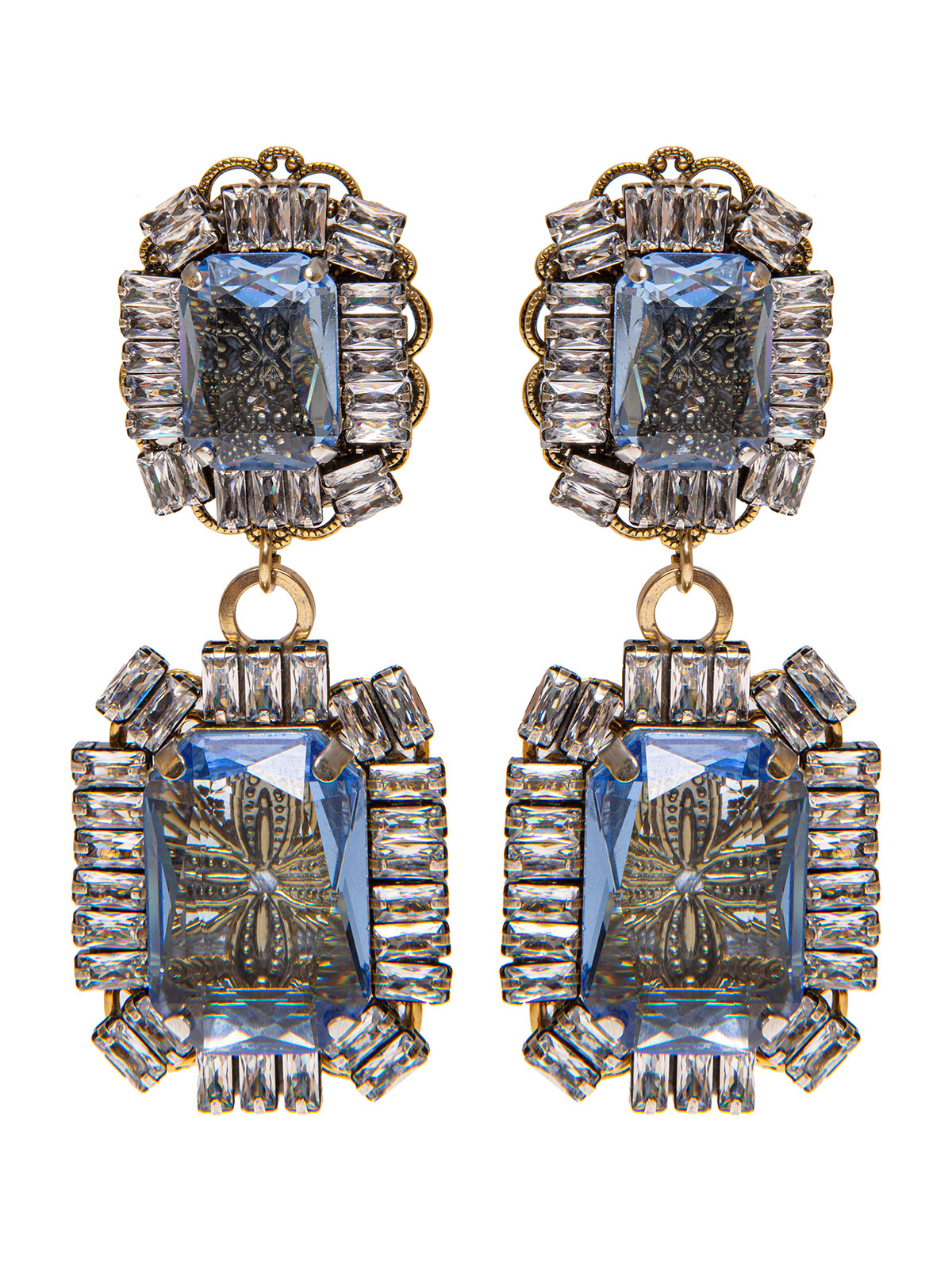Pendent stone earrings with crystal decoration