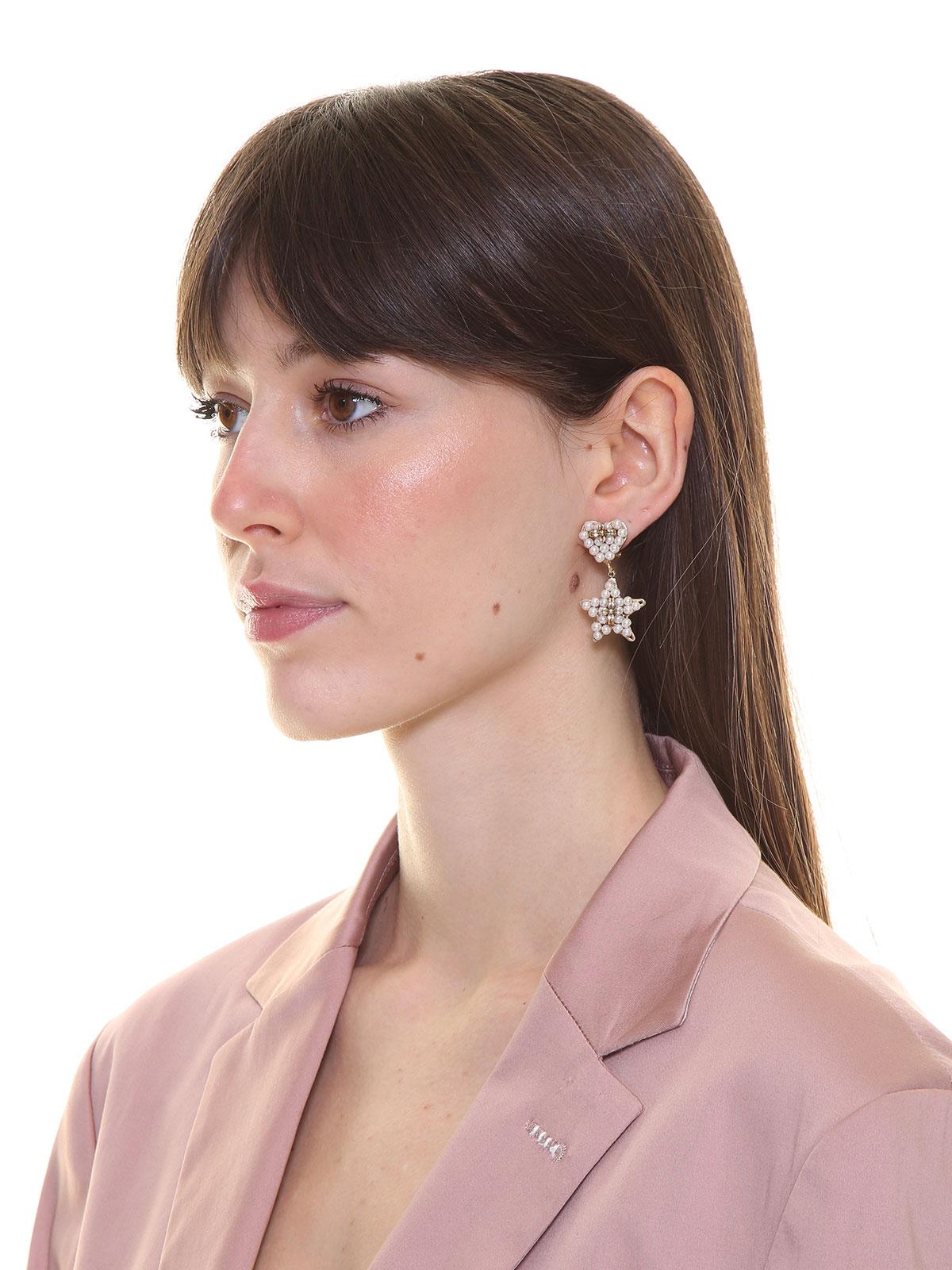 Beaded heart earrings with star pendant