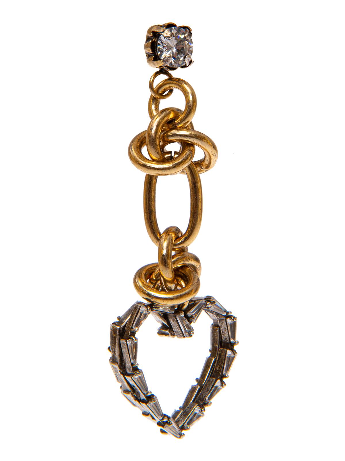 Orecchini pendenti con anelle combinate e cuore di baguettes