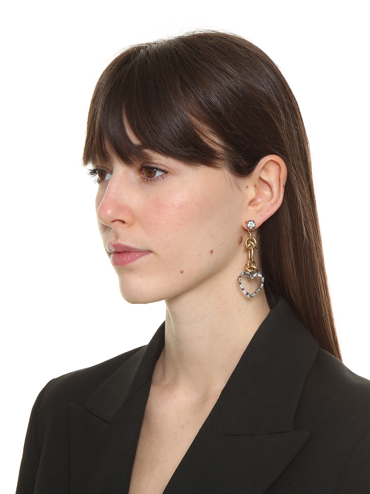 Pendent earrings embellished with crystal hearts and rings