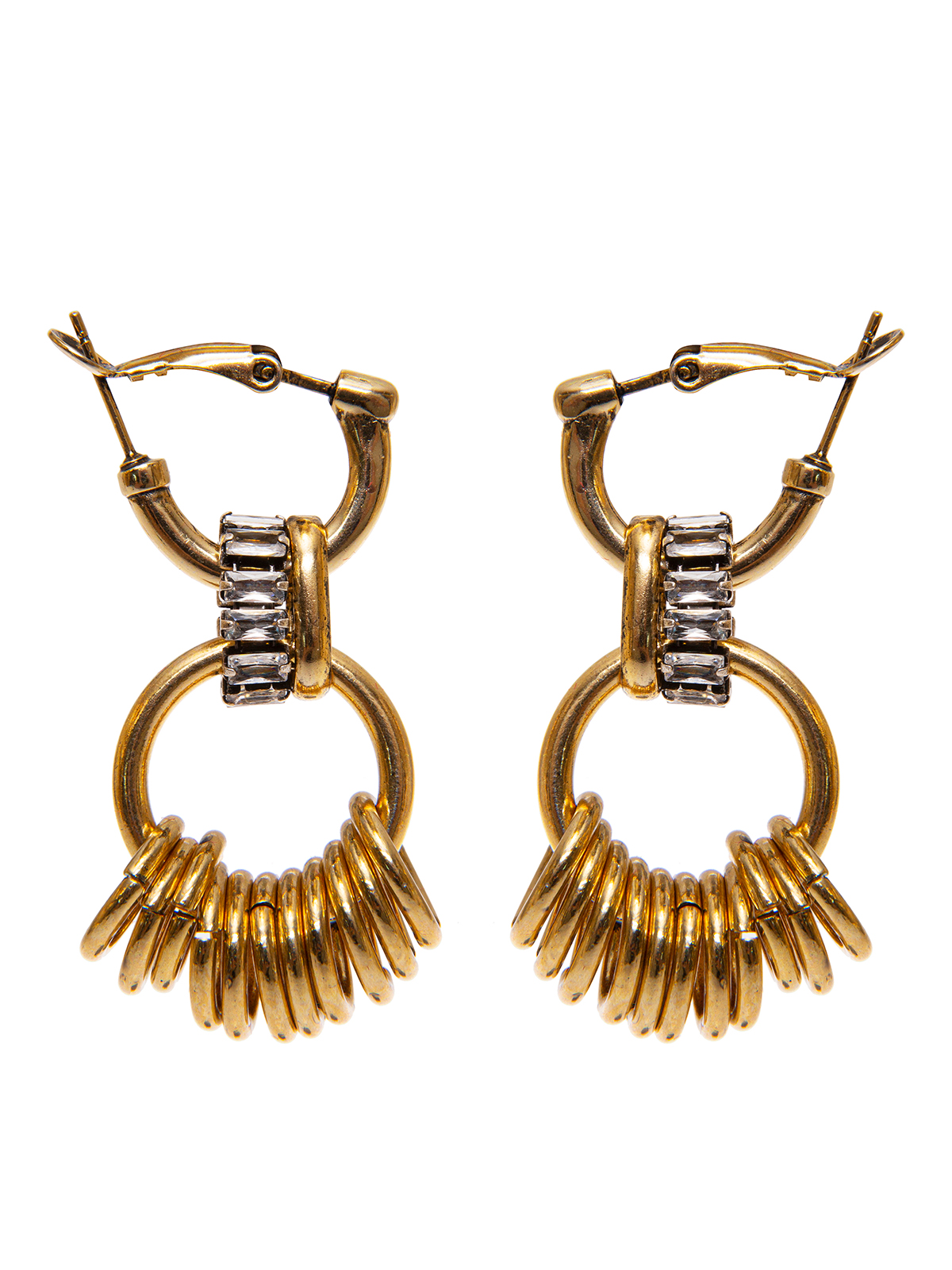 Hoop earrings embellished with rings and crystals
