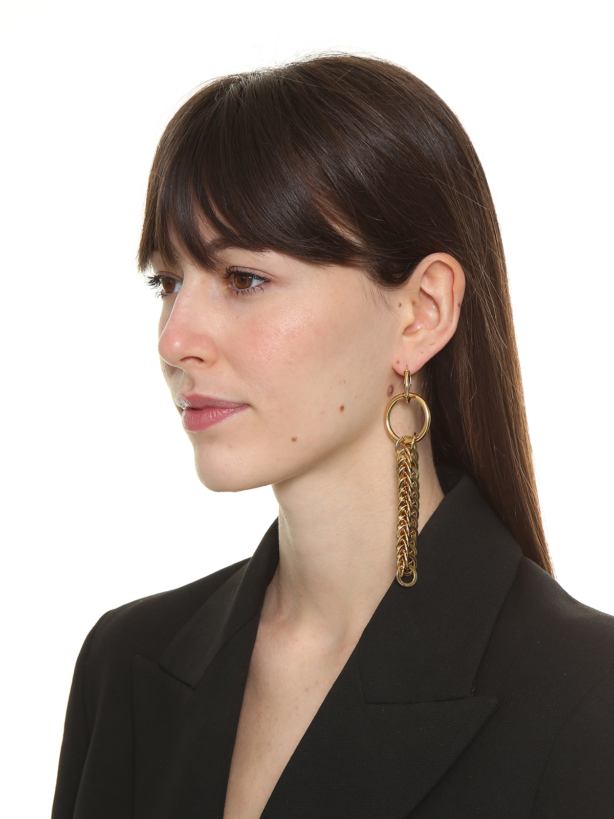 Hoop earrings embellished with pendent chain
