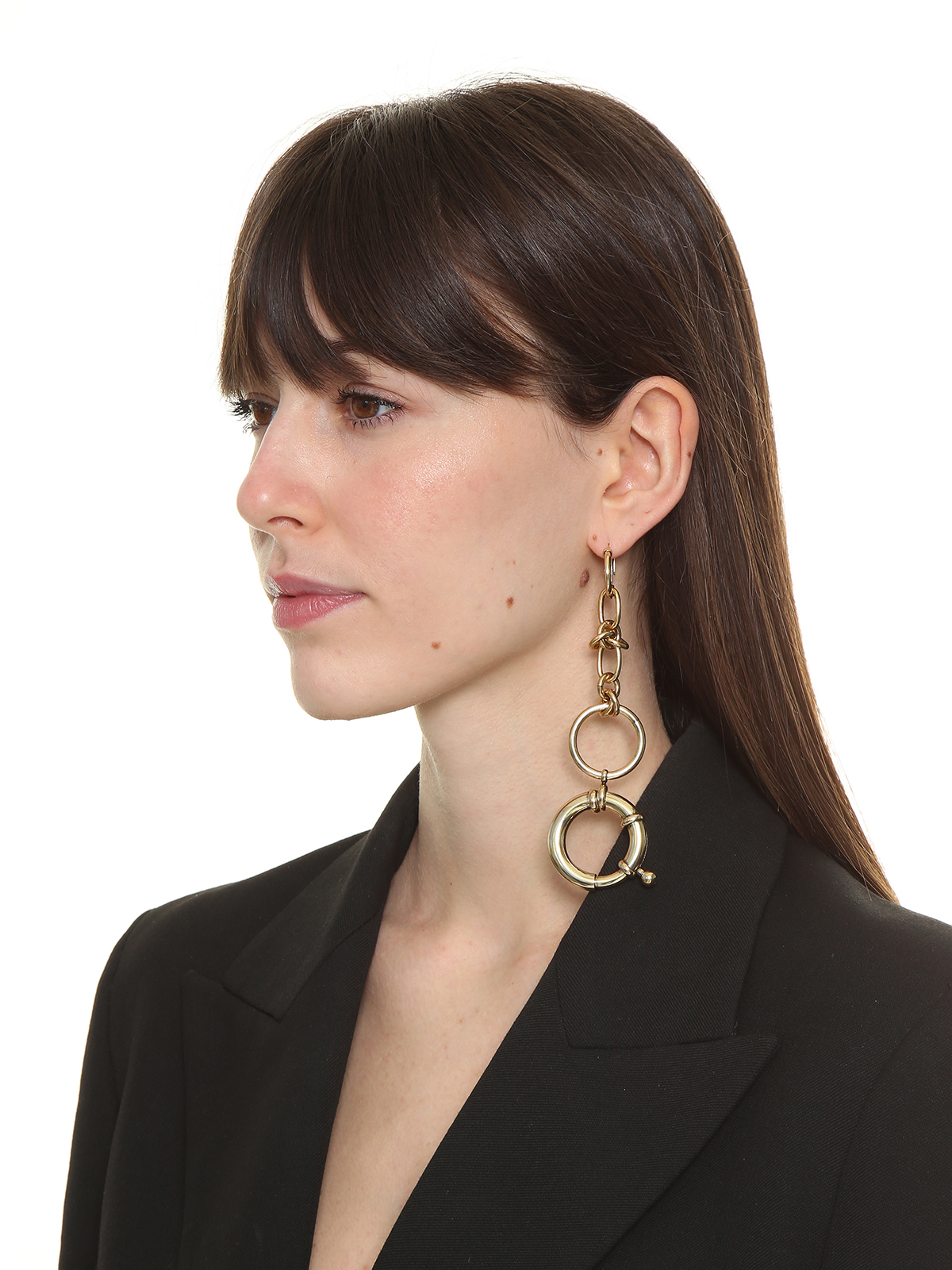 Hoop earrings embellished with pendent chain and dmaxi round clasp
