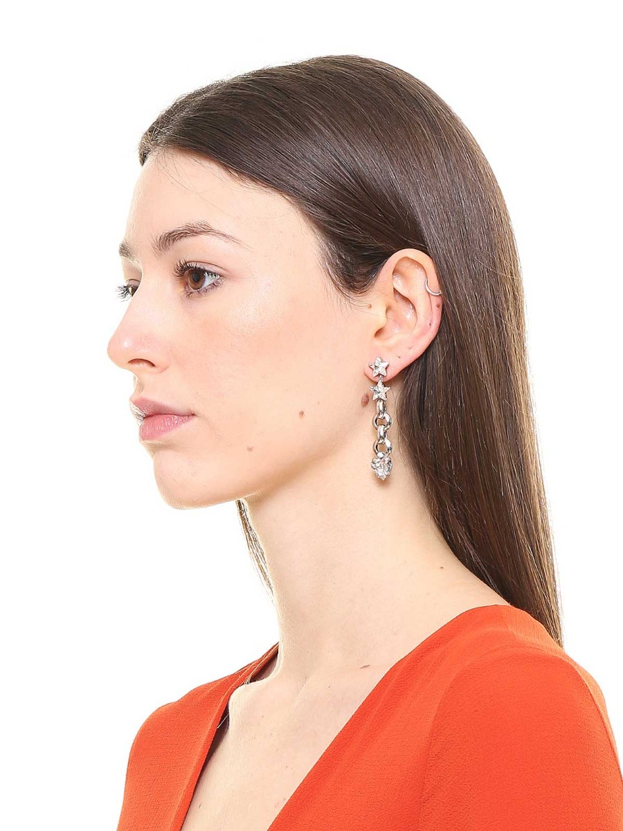 Pendent earrings with crystals and stars