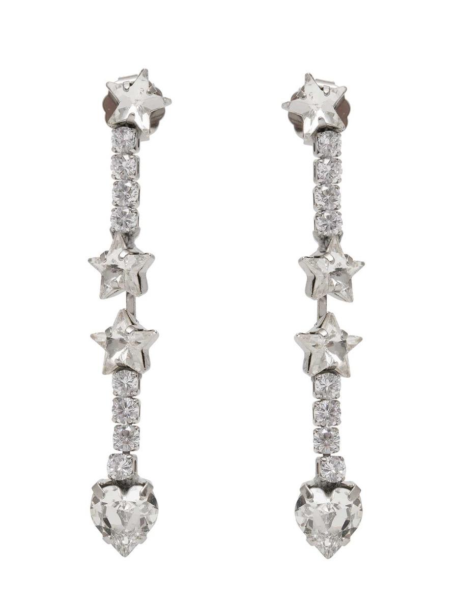 Orecchini pendenti con cristalli e stelle