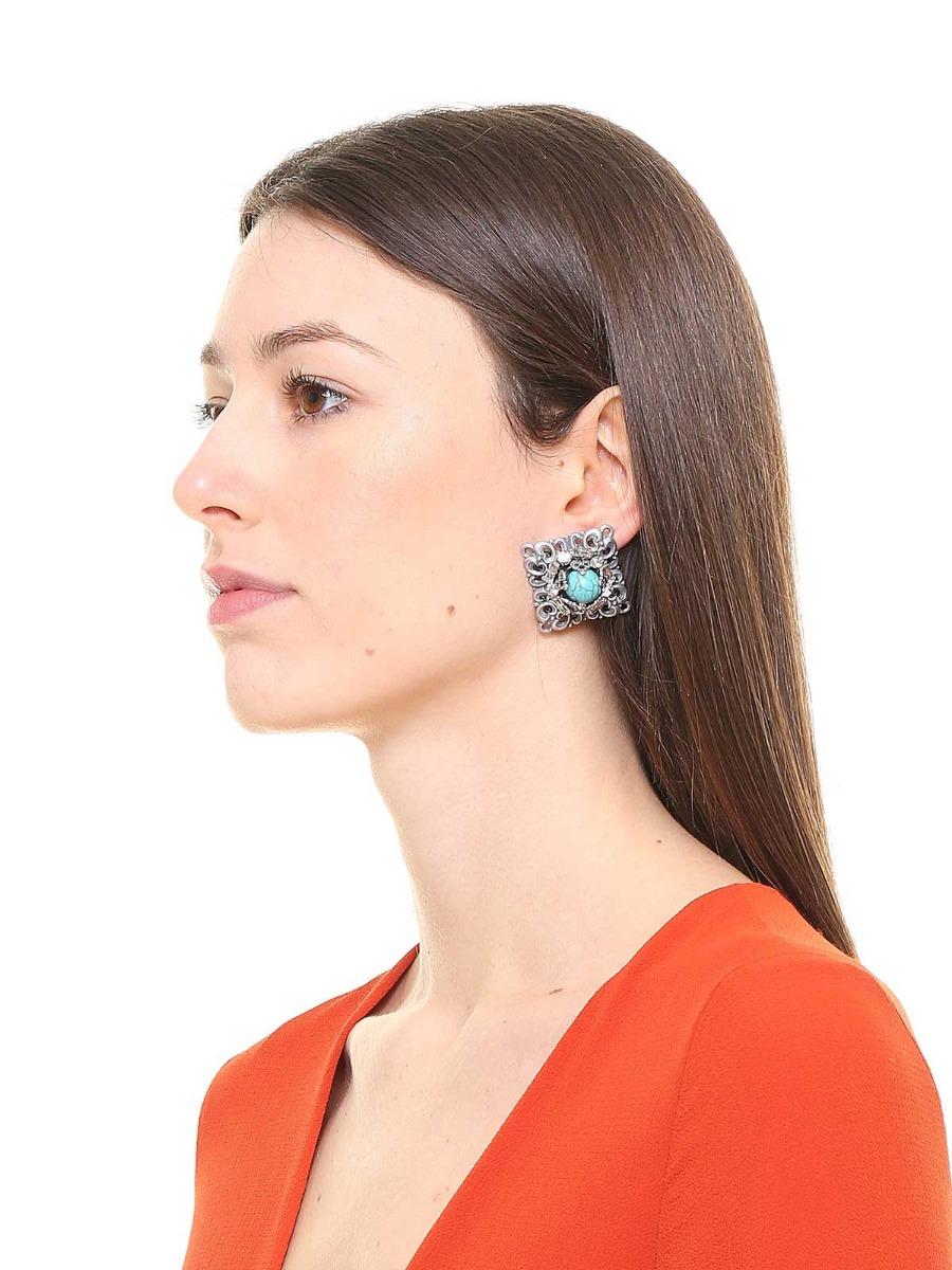 Geometric brass framed pearl earrings