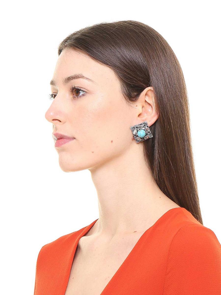 Orecchini geometrici in ottone con perla incorniciata