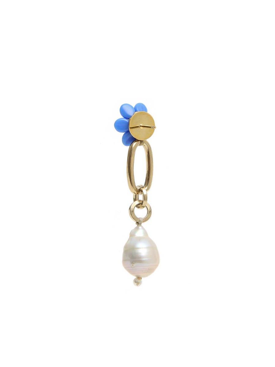 Orecchini pendenti con margherite e perle d'acqua dolce
