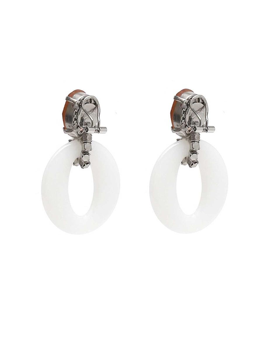 Stone earrings with plexi rings