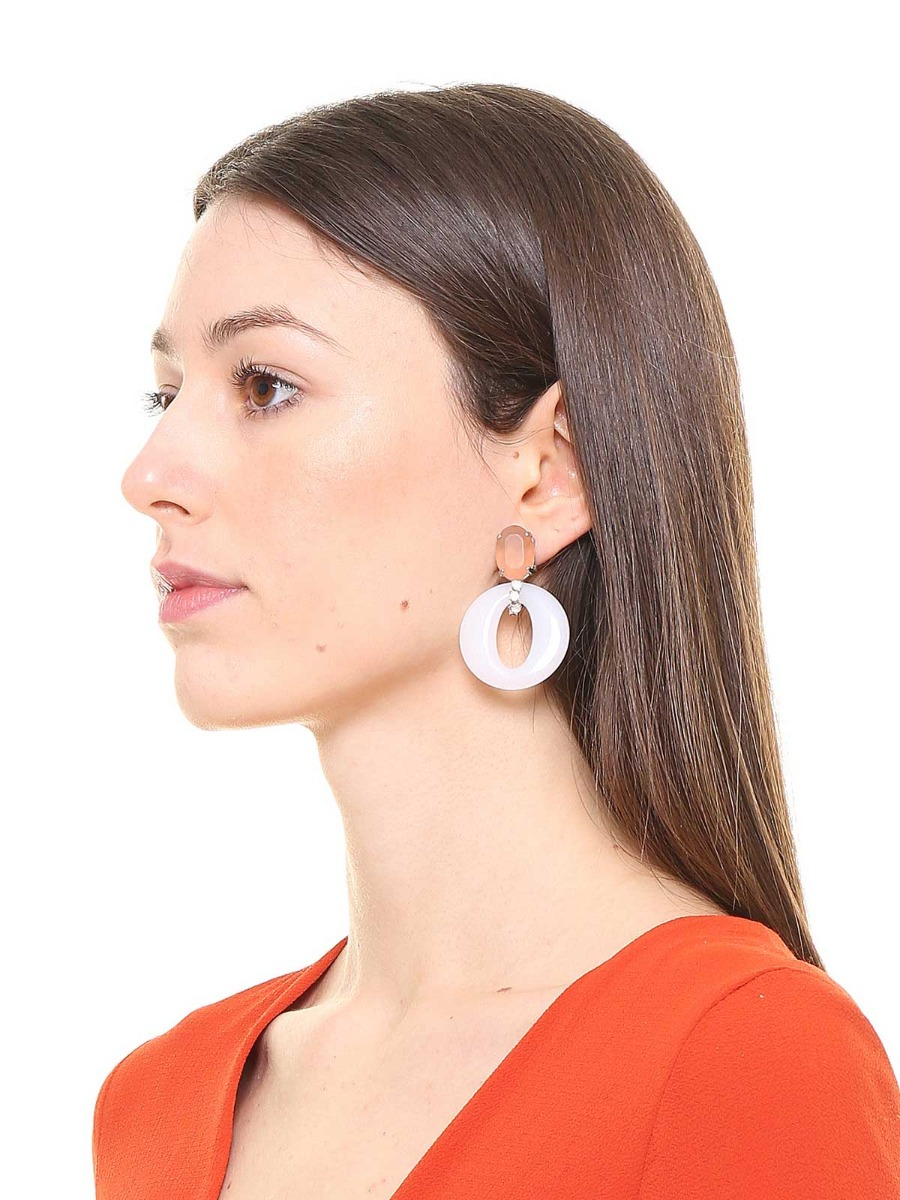 Stone earrings with plexi rings