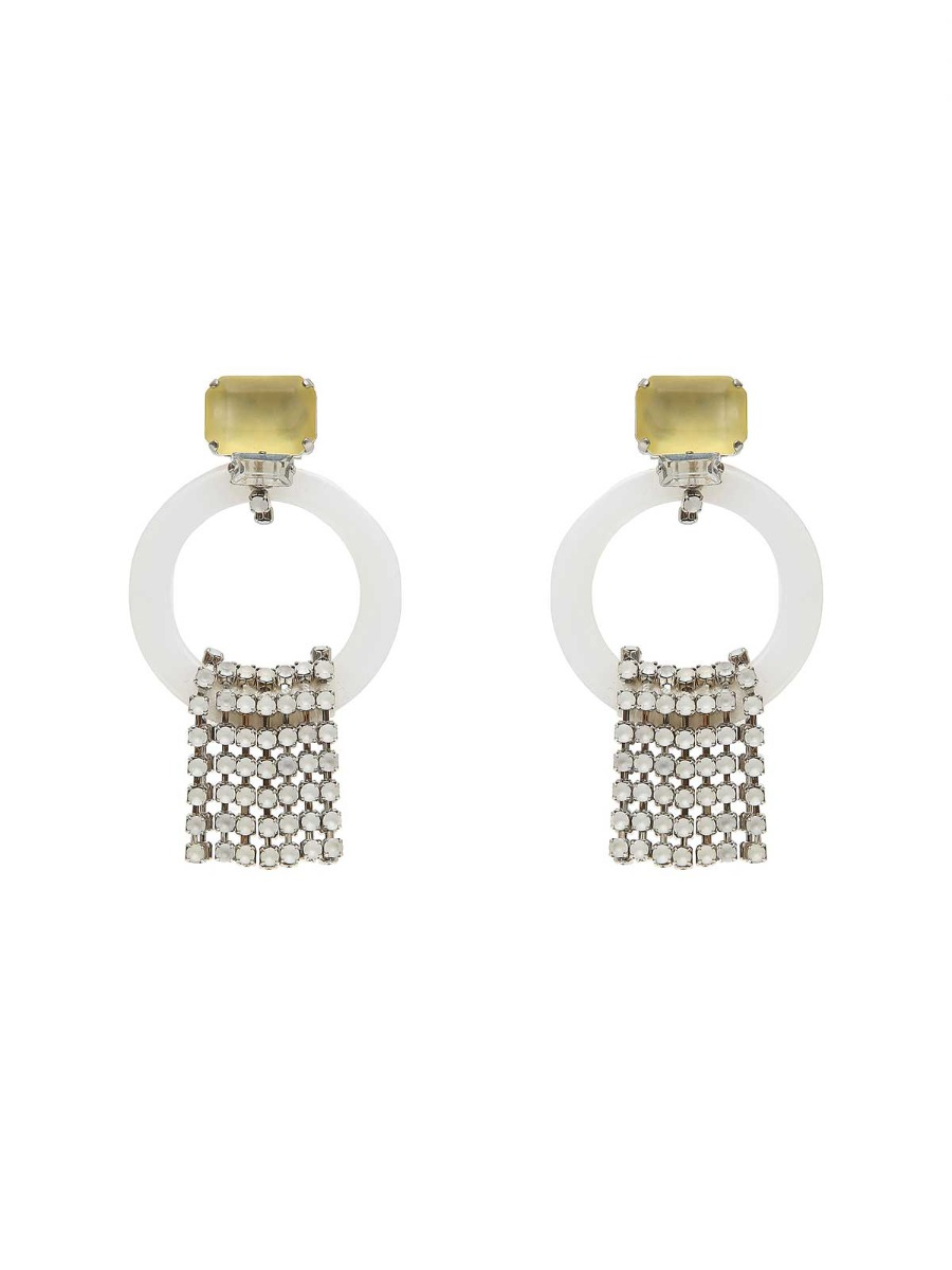 Stone earrings with plexi rings and cascade rhinestones