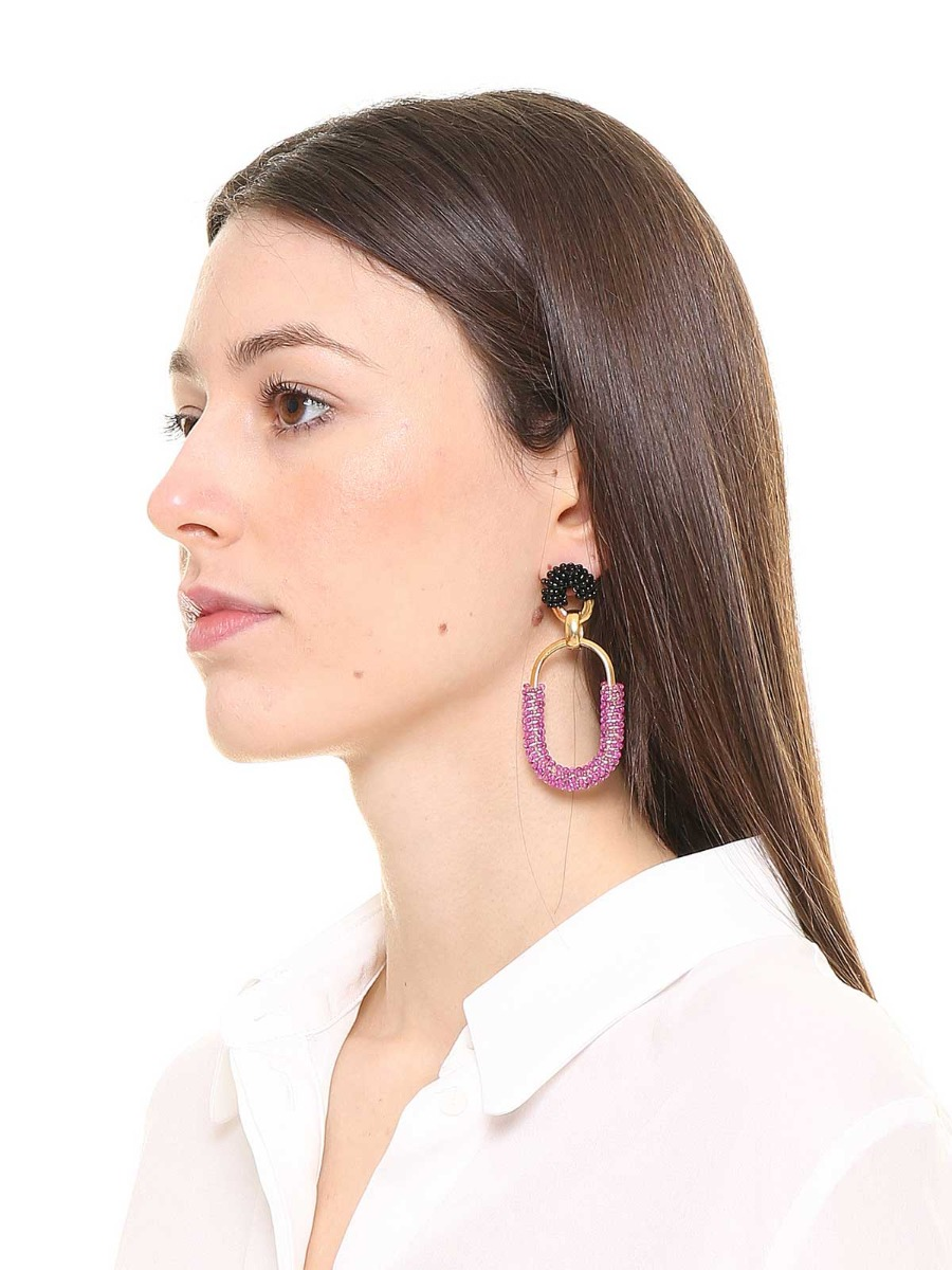Mixed chain earrings with multicolor beads