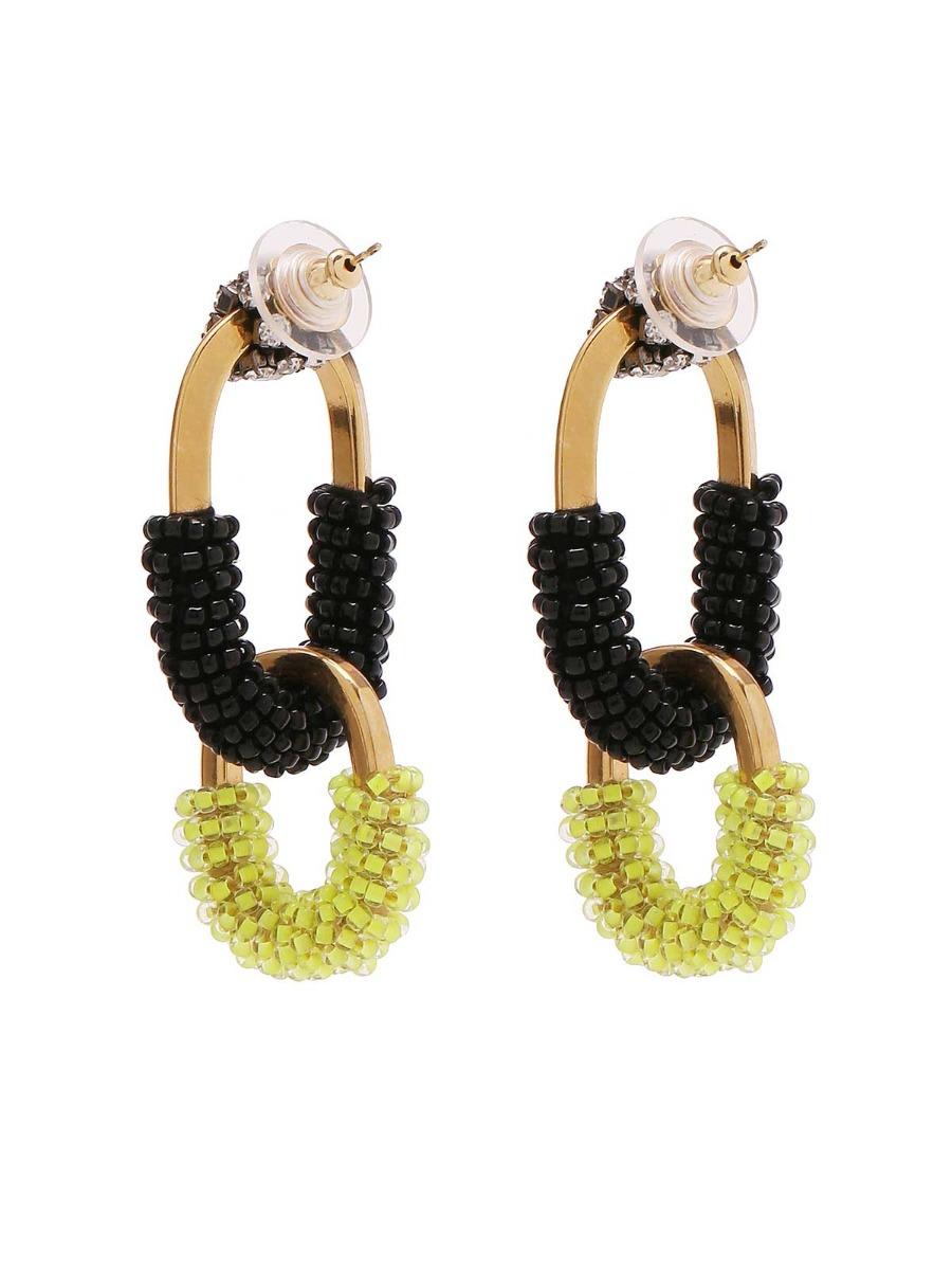 Orecchini mix di catene in ottone e perline multicolor