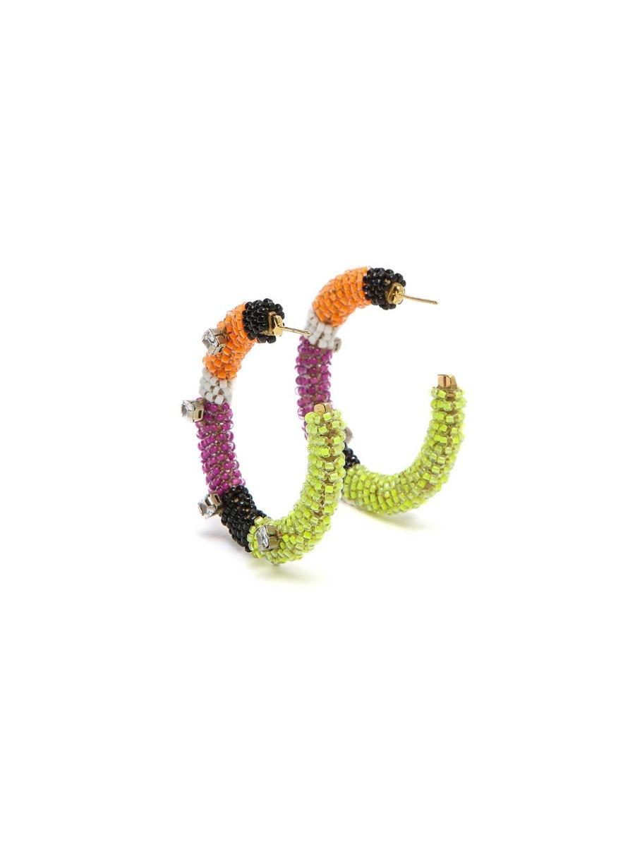 Orecchini a cerchio con perline multicolor e strass