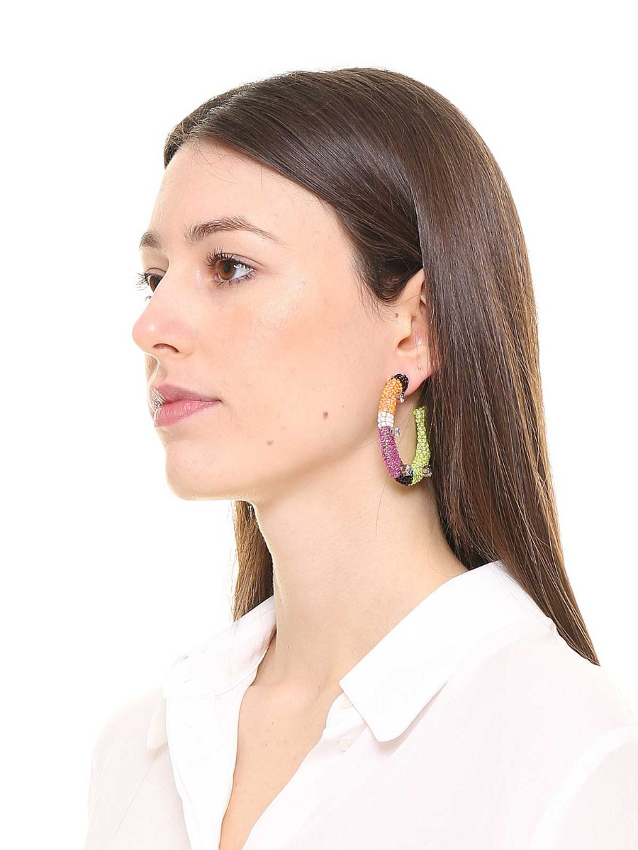 Hoop beaded earrings