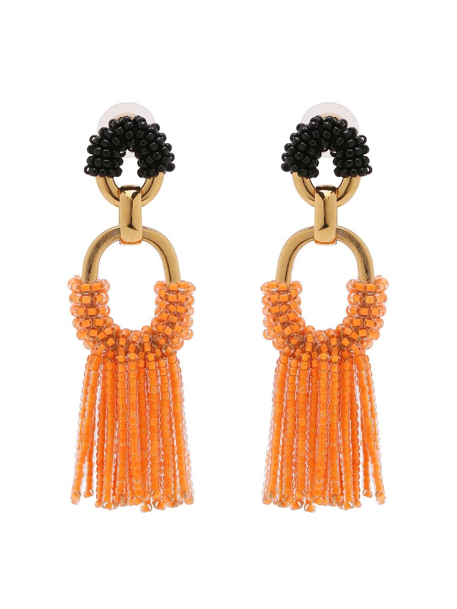 Mixed chain earrings with beads fringe