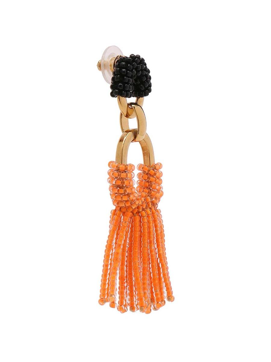 Orecchini mix di catene con frangia di perline