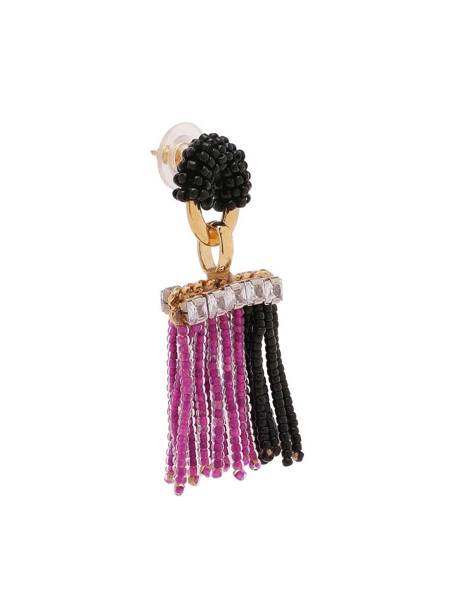 Orecchini mix di catene con frangia di perline multicolor