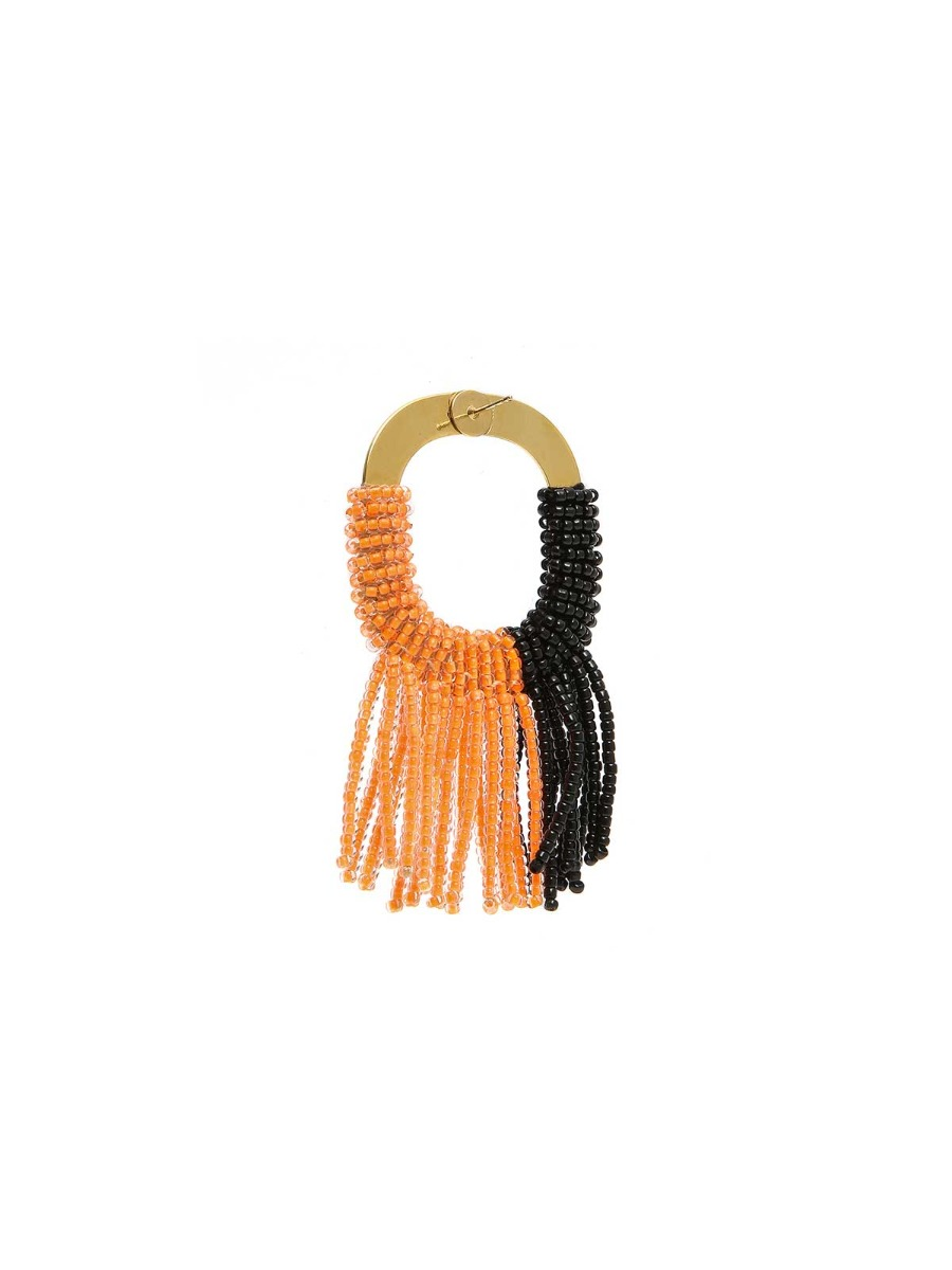 Orecchini in ottone con frangia di perline multicolor