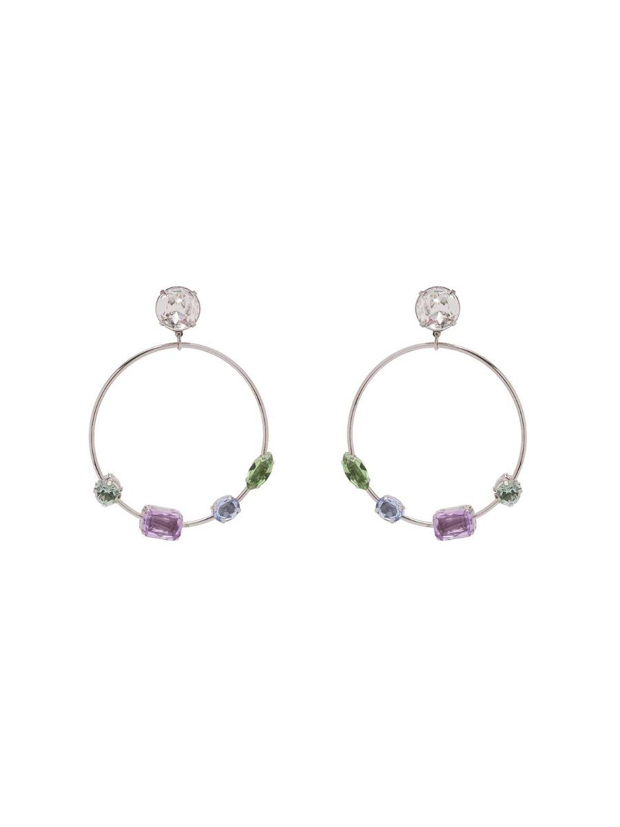 Hoop earrings with multicolor stones