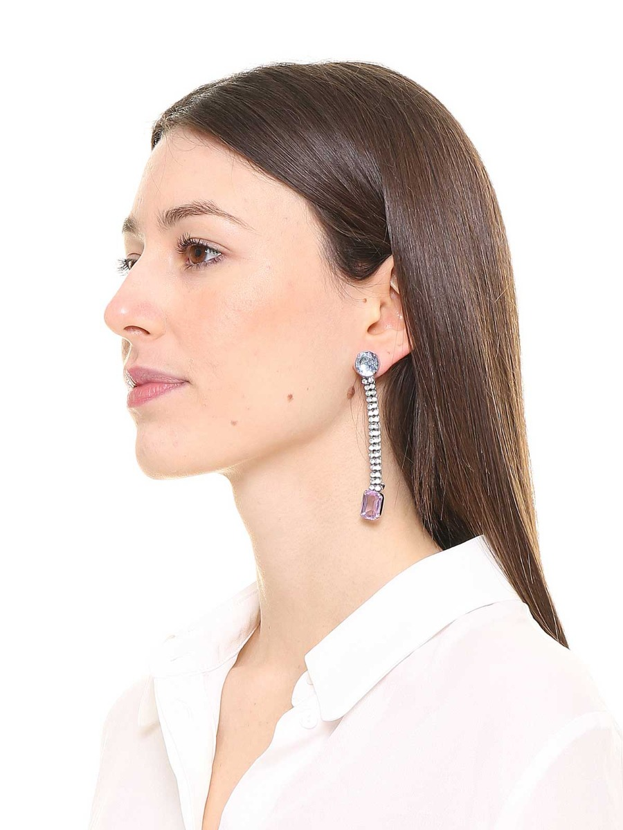 Rhinestone and multicolor stones earrings