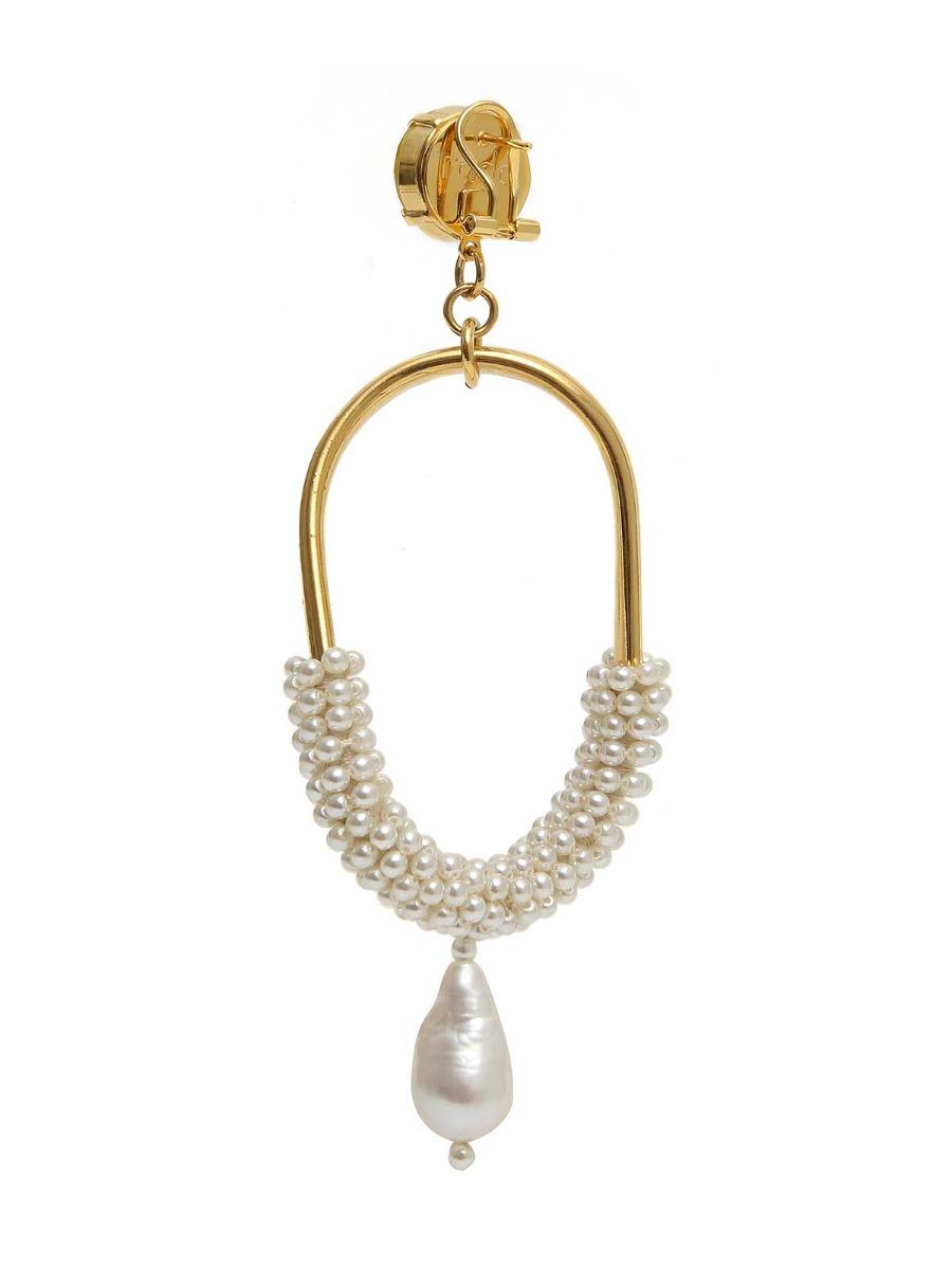 Orecchini pendenti in ottone con perle