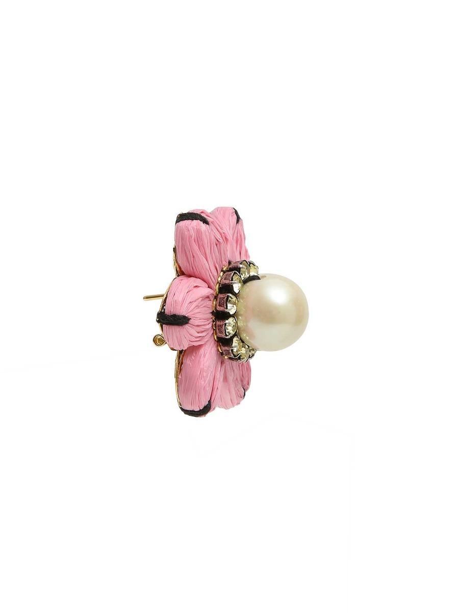 Orecchini floreali con perla oversize