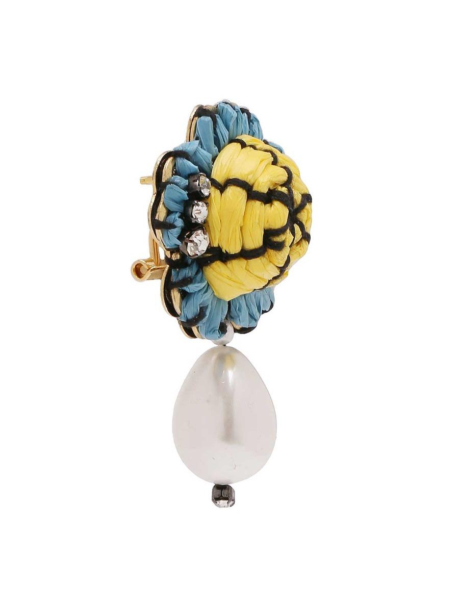 Orecchini floreali con perla d'acqua dolce