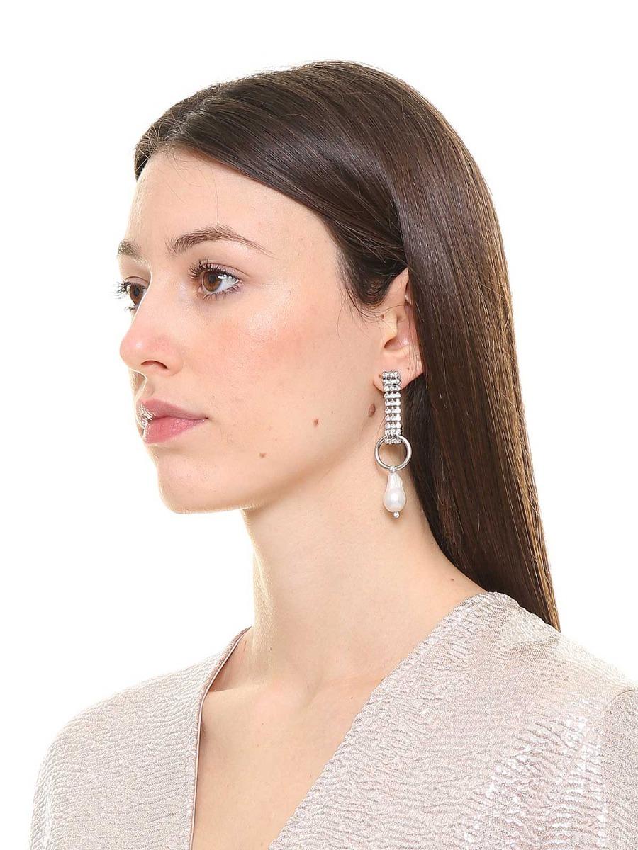 Orecchini pendenti di strass con perla a goccia