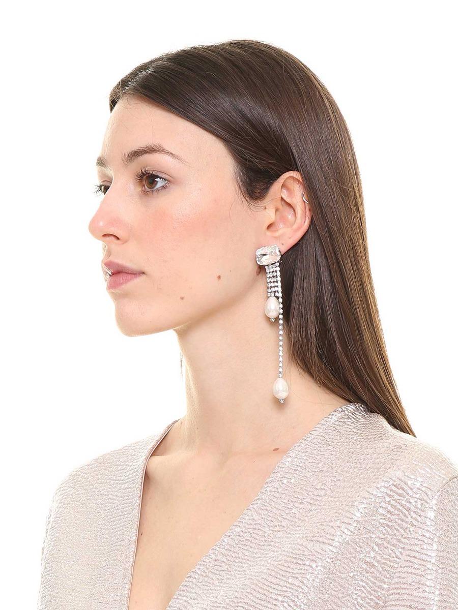Orecchini di pietre cristallo con perle e strass a cascata