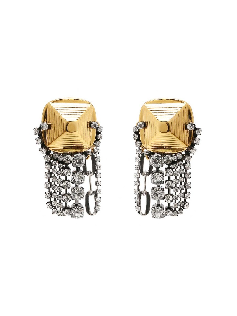 Brass earrings with rhinestone fall